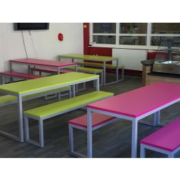 Dining Bench Seats & Tables + 25 & 40mm Melamine Tops & PVC Edges (Fully Welded Frames)