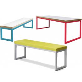 40/40 - Robust Steel Dining Tables and Benches with 25mm Laminate Top  (Fully Welded Frame)