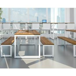 25mm MFC Robust Block Steel Frame Bench Tables and Bench Seating