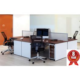 White & Walnut Office Desks & Storage