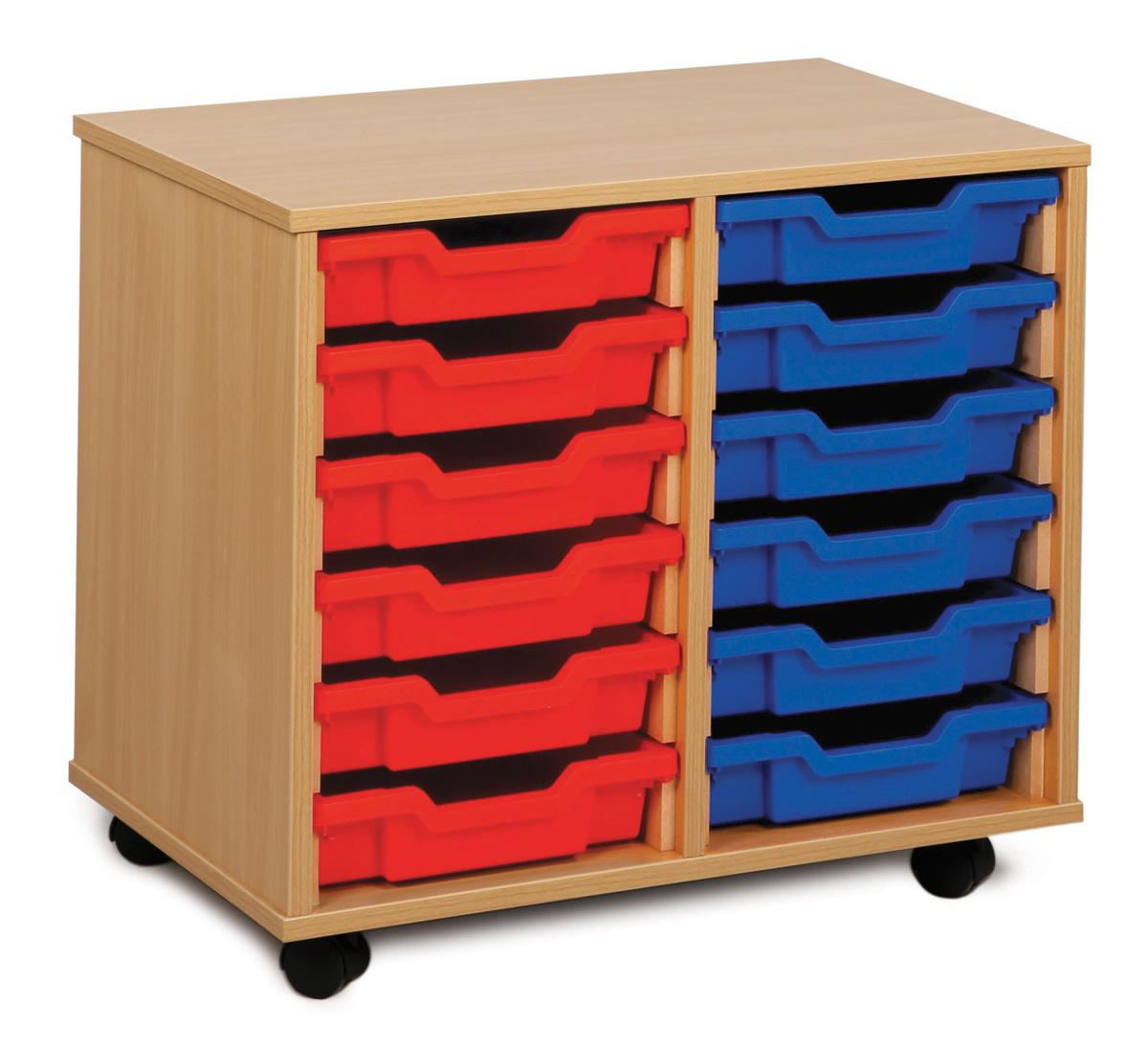 School Storage 12 Shallow Tray Unit Inc Trays Castors Office Canteen School Boardroom