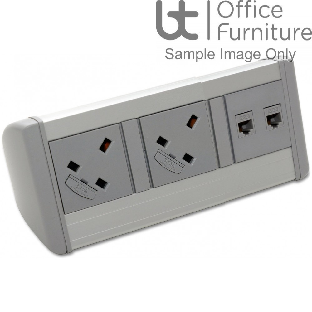 Harmony 2 x power, 1m mains lead to 3-pole connector, 2 x RJ45 data Cat6 sockets only, new end caps