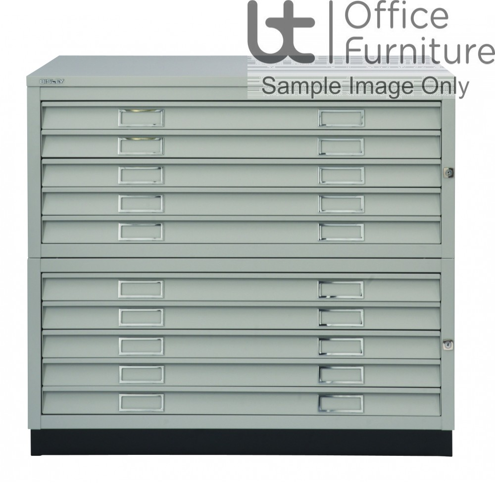 Bisley Steel A1 10 Drawer Plan Chest Complete With Top & Plinth