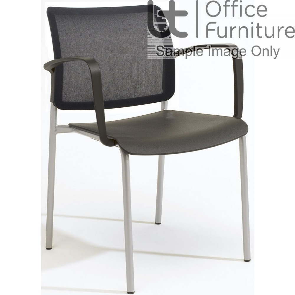 Verco Visitor / Conference Seating - Add 4 legged Mesh Back Plastic Stacking Chair with Arms