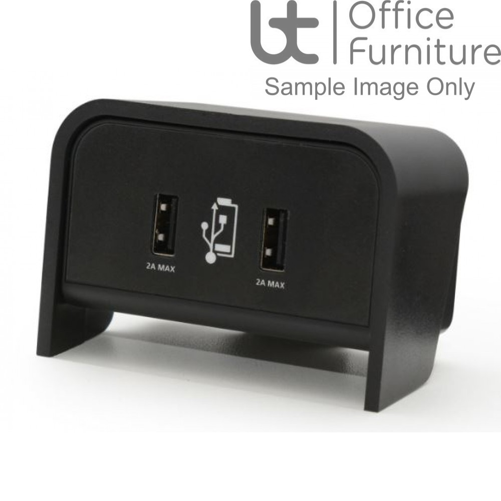 On Desk Cable Management - Chip Twin USB Desktop Charger Unit, 2 x 2 Amp sockets, 1 metre Power Lead to 3 Amp 3 pin Plug