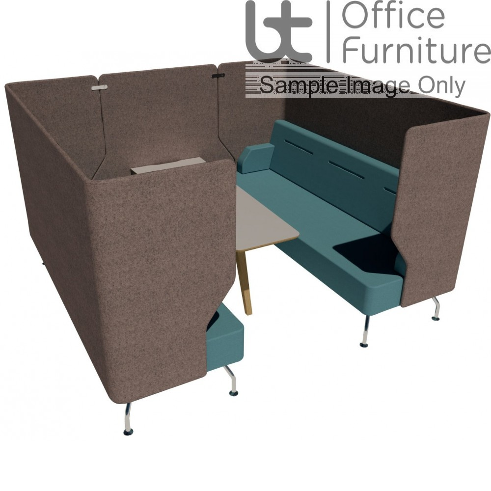 Verco Pod/Booth - Brix-Up Six Person + 800mm Infill Panel & 600mm Deep MFC Table (Metal Legs - Arms NOT inc)
