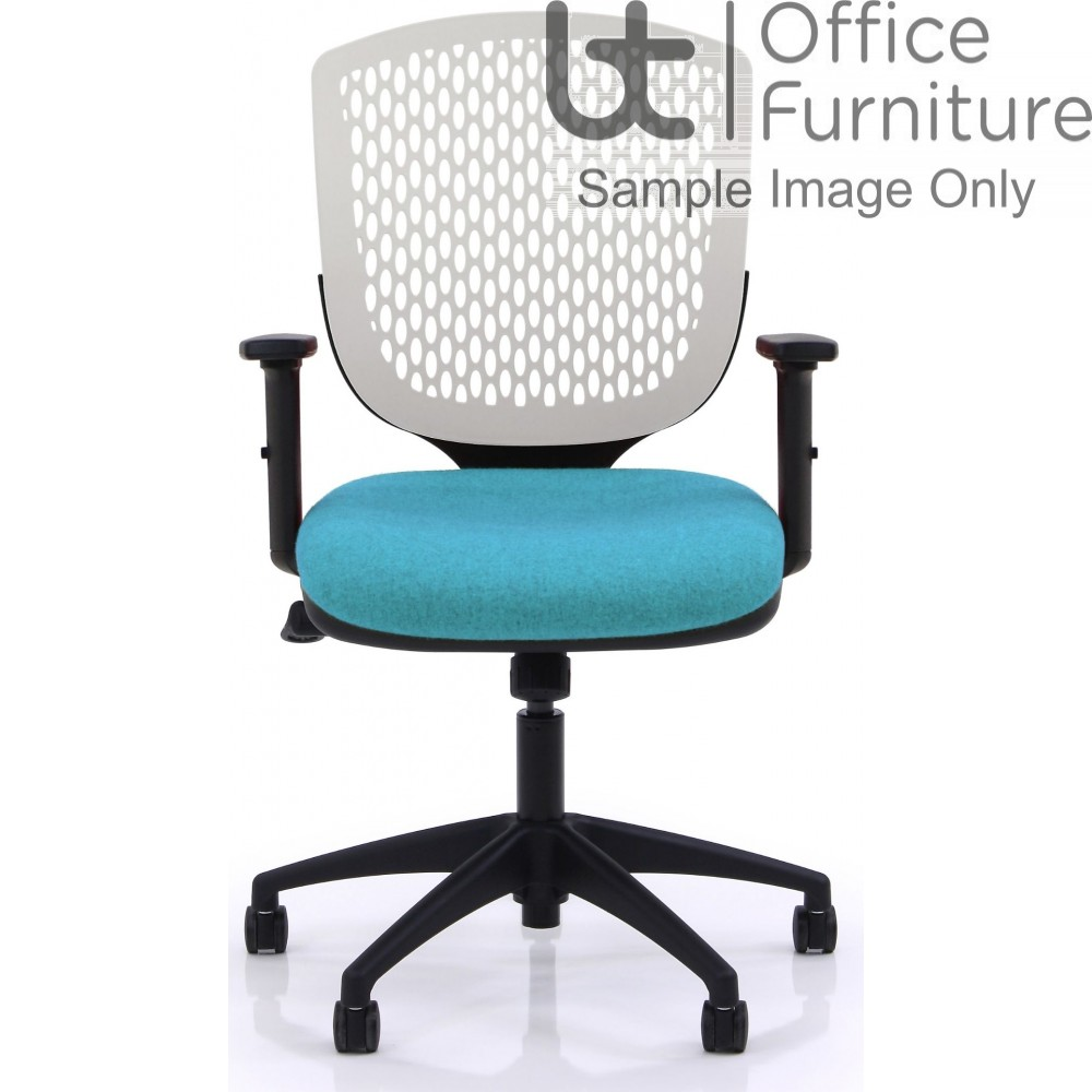 Verco Operator/Task Chair - Carlo White Medium Back Task Chair with Adjustable Arms