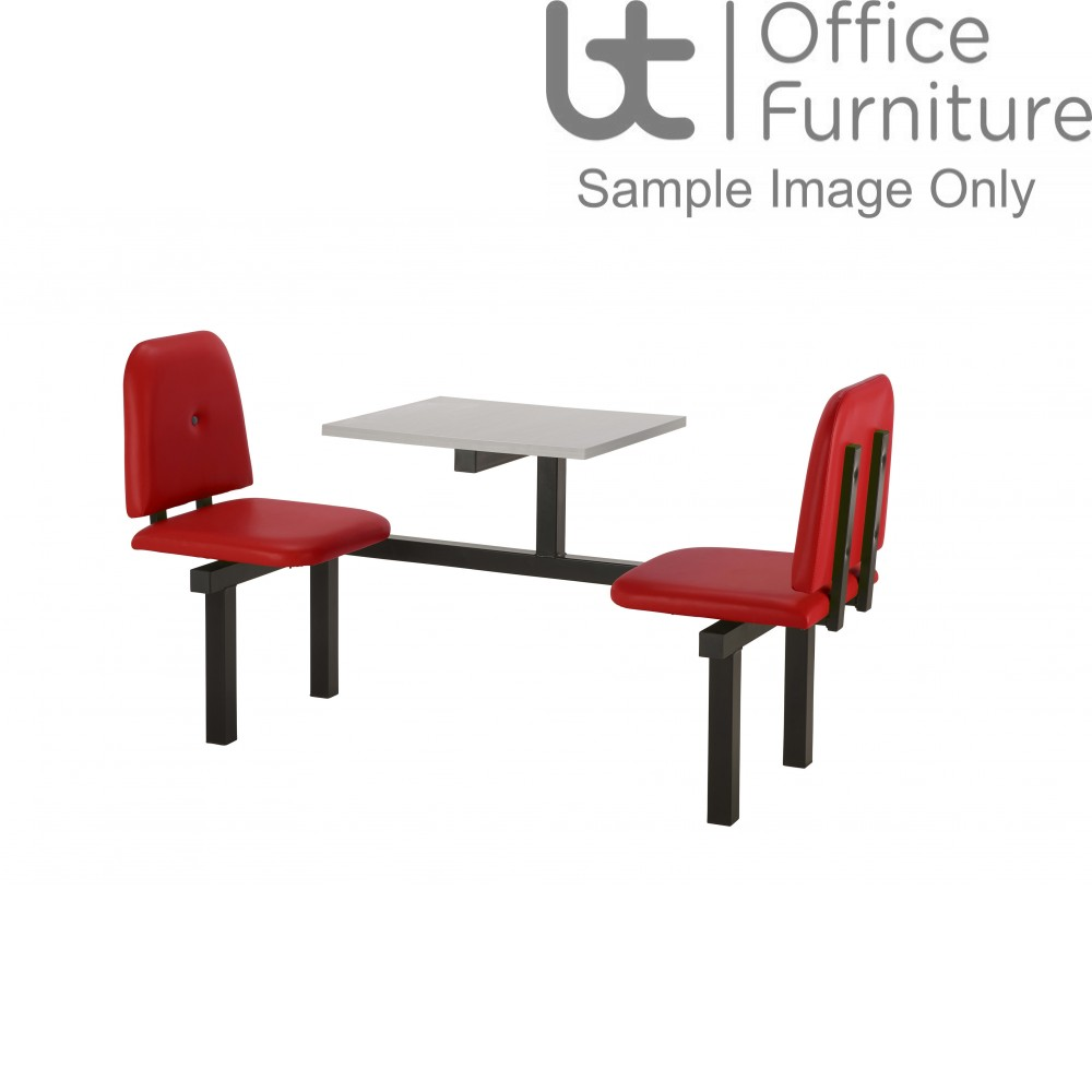 Bench 2 Seat Modular Canteen Fast food Unit - Red Vinyl Seats