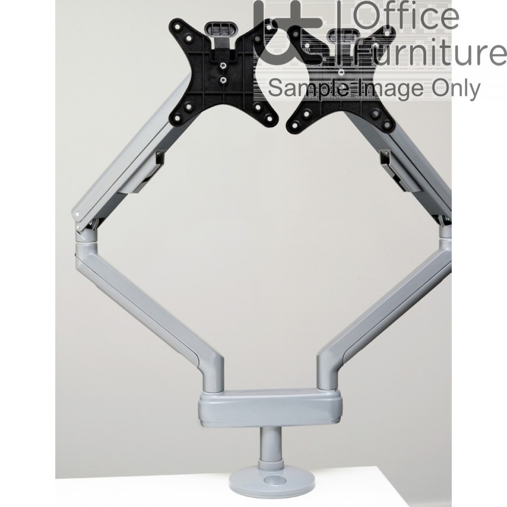 Reach Double Spring Assisted Monitor Arm - (2 x Reach Single Arms with Double C clamp) - Quick Release VESA