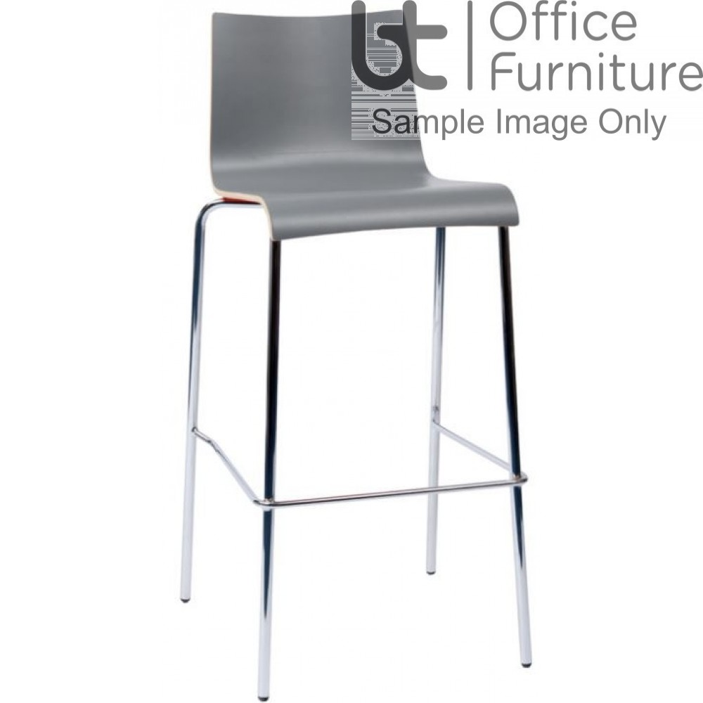 Plyform High Stool with High Back (Multicoloured)