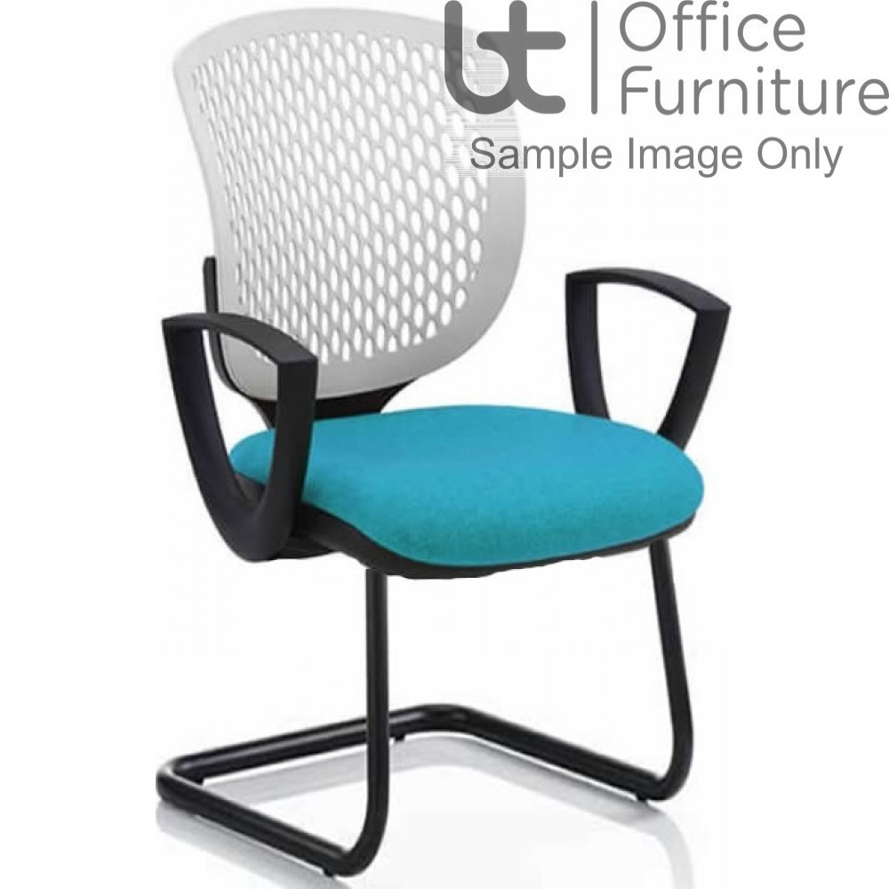 Verco Operator/Task Chair - Carlo White Medium Back Visitor Chair with Arms