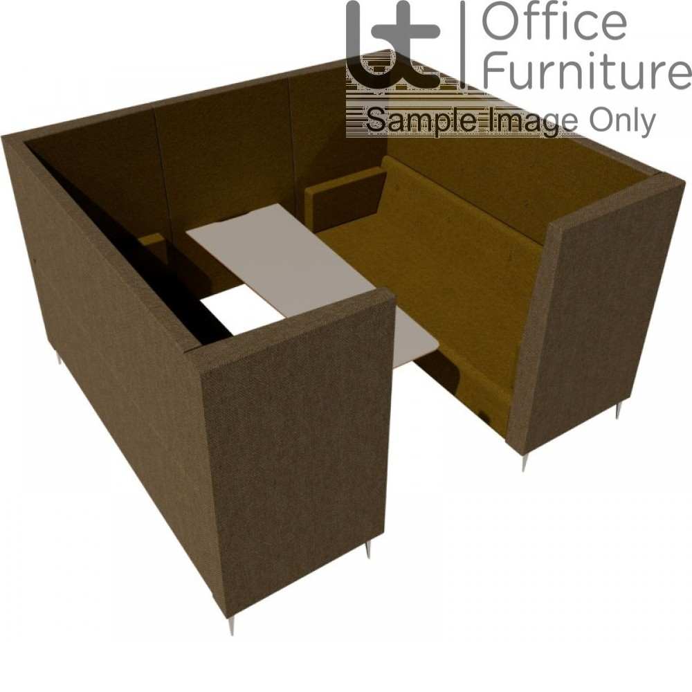 Verco Pod/Booth - Jensen-Up six person booth inc integral high acoustic surround, 800mm wide + 600mm deep MFC Table