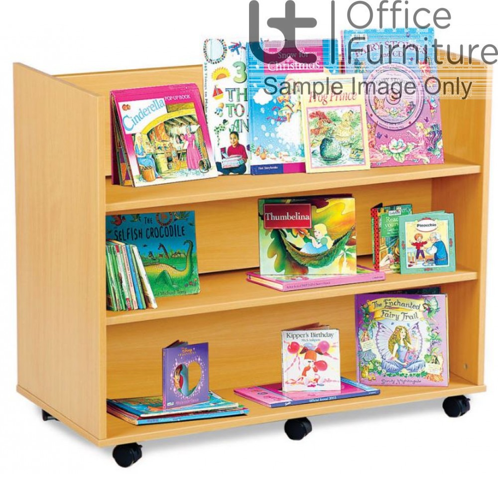 School Book Storage - Library Unit with 3 Horizontal Shelves Each Side