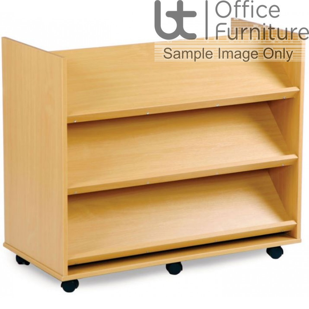 School Book Storage - Library unit, 3 angled shelves on each side