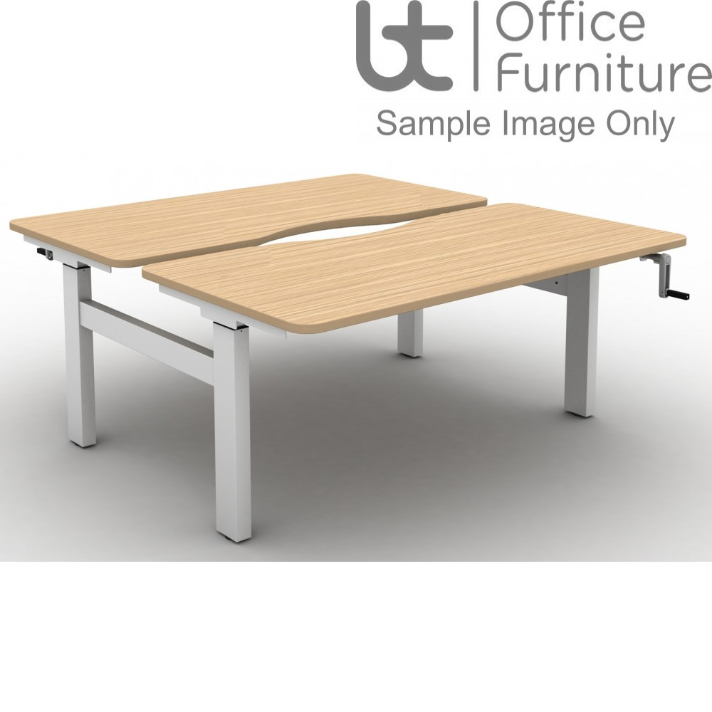 Move Crank Handle Height Adjustable Back To Back Sit-Stand Desk - Tops with Long Scallop & Rounded Corners