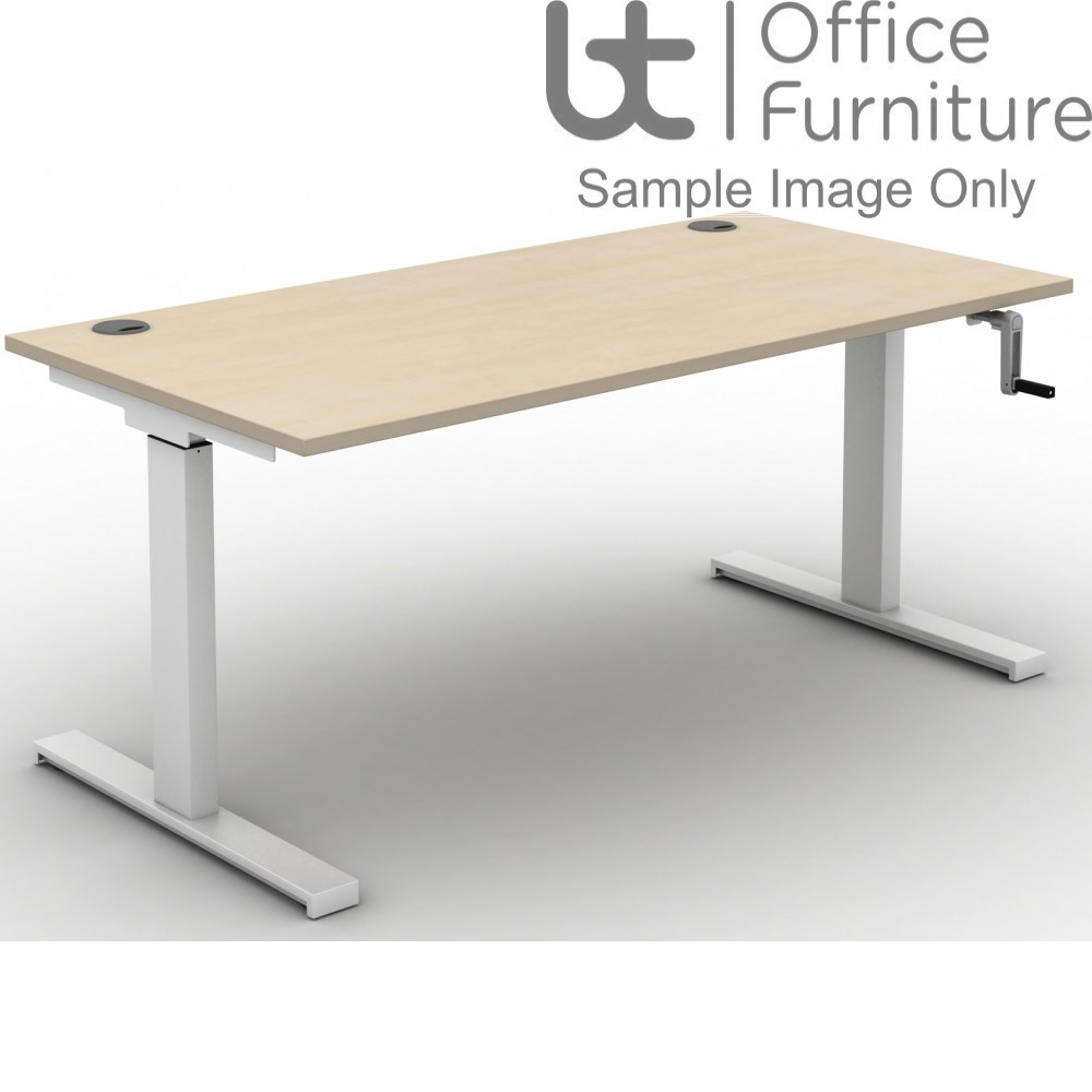 Move Crank Handle Rectangular Height Adjustable Sit-Stand Desk - Tops Cable Ports & Square Corners