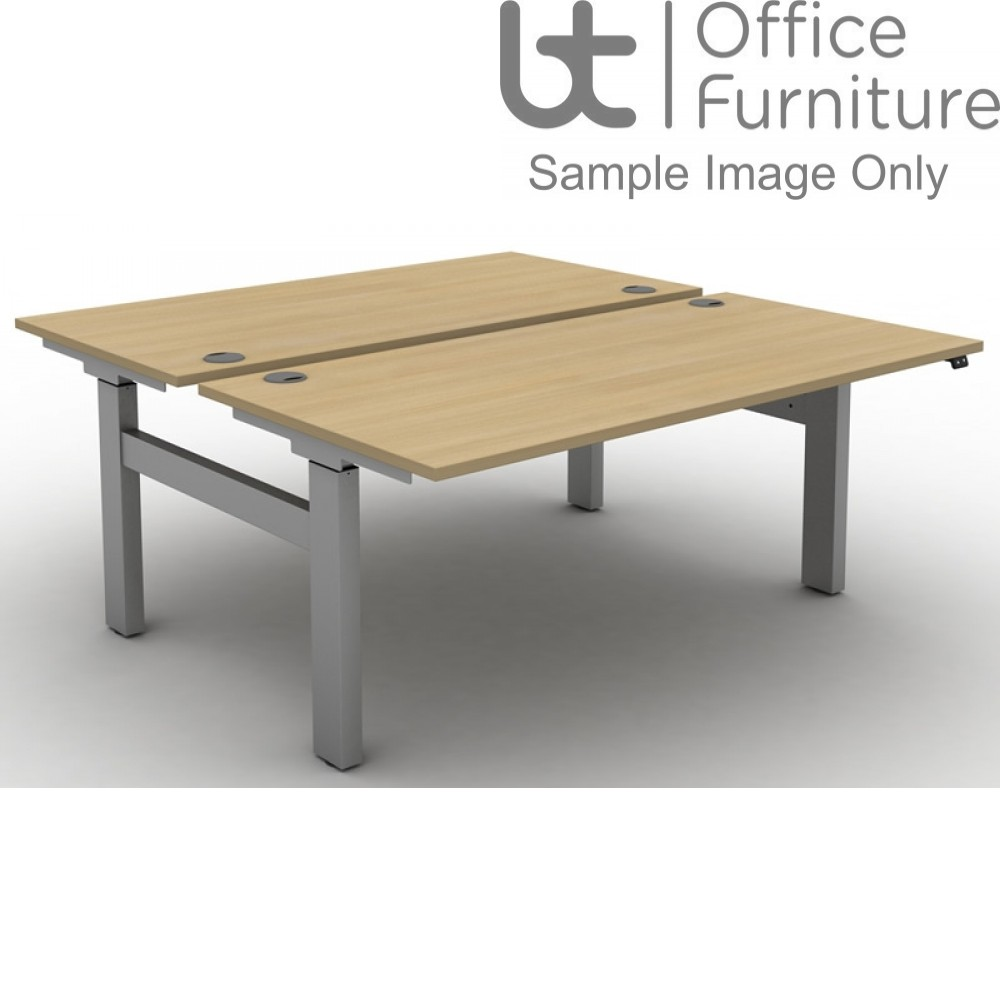 Move Electric Height Adjustable Back To Back Sit-Stand Desks with Cable Ports & Square Corners