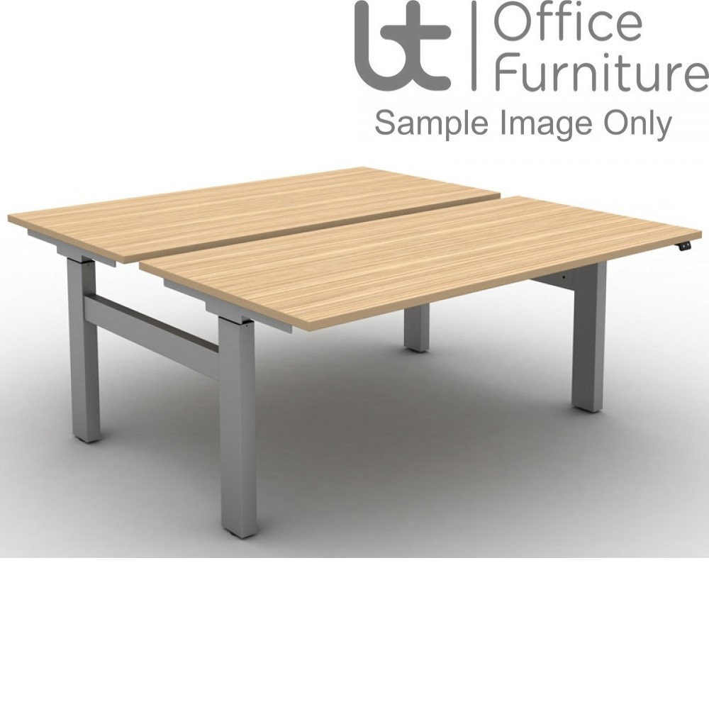 Move Electric Rectangular Height Adjustable Back To Back Sit-Stand Desks with Square Corners