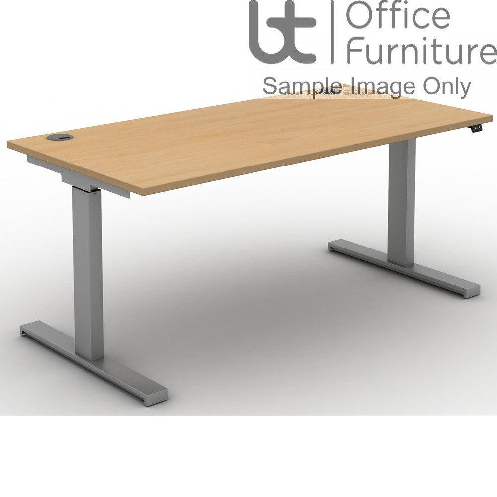 Move Electric Rectangular Height Adjustable Sit-Stand Desk - Cable Ports & Square Corners to Tops