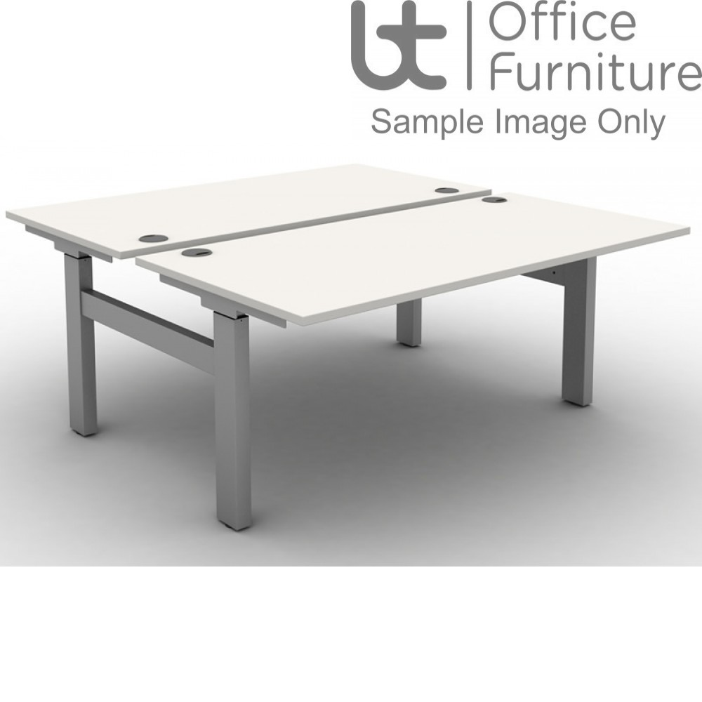 Move Set and Forget Height Adjustable Back To Back Desks with Cable Ports & Square Corners