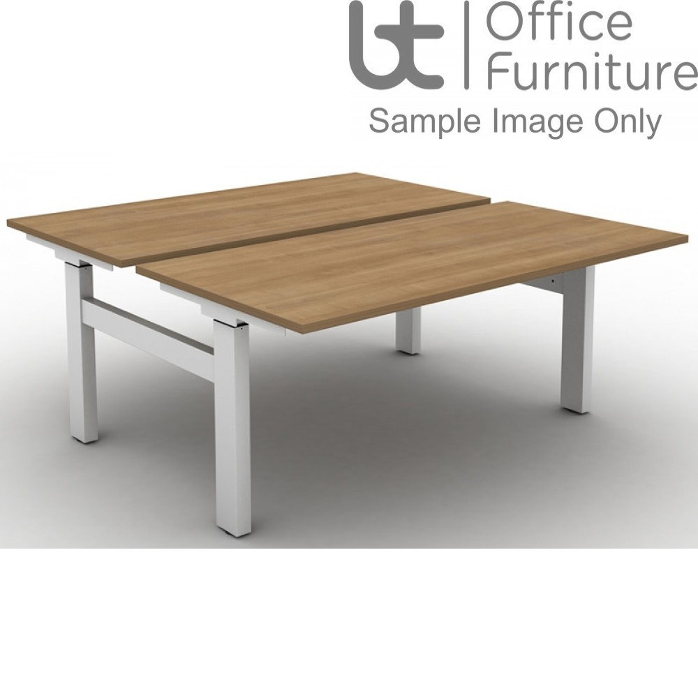 Move Set and Forget Height Adjustable Back To Back Desks with Square Corners