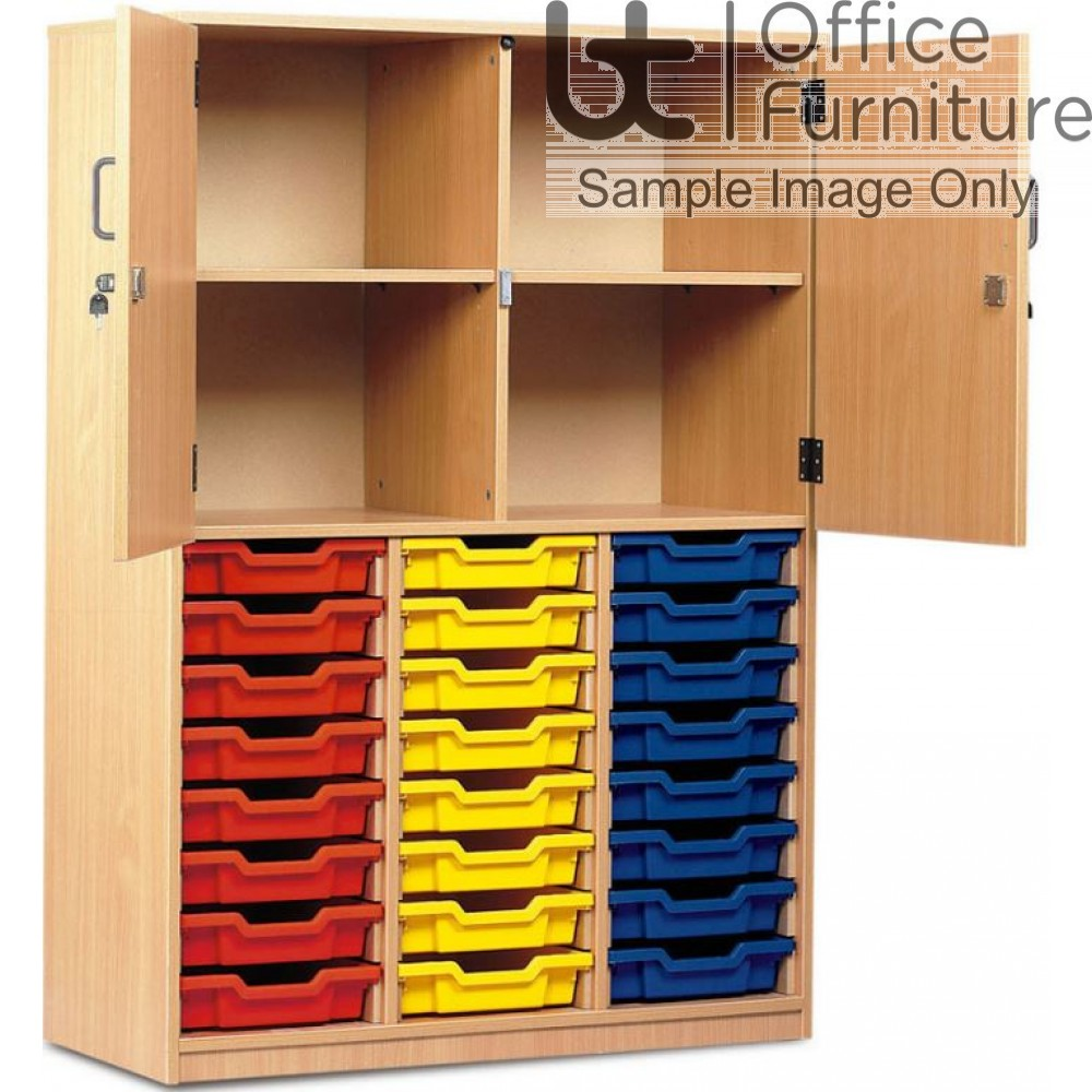 School Tray Storage - 24 Shallow Tray Half Locking Doors Cupboard, Upper Section Has Four Compartments