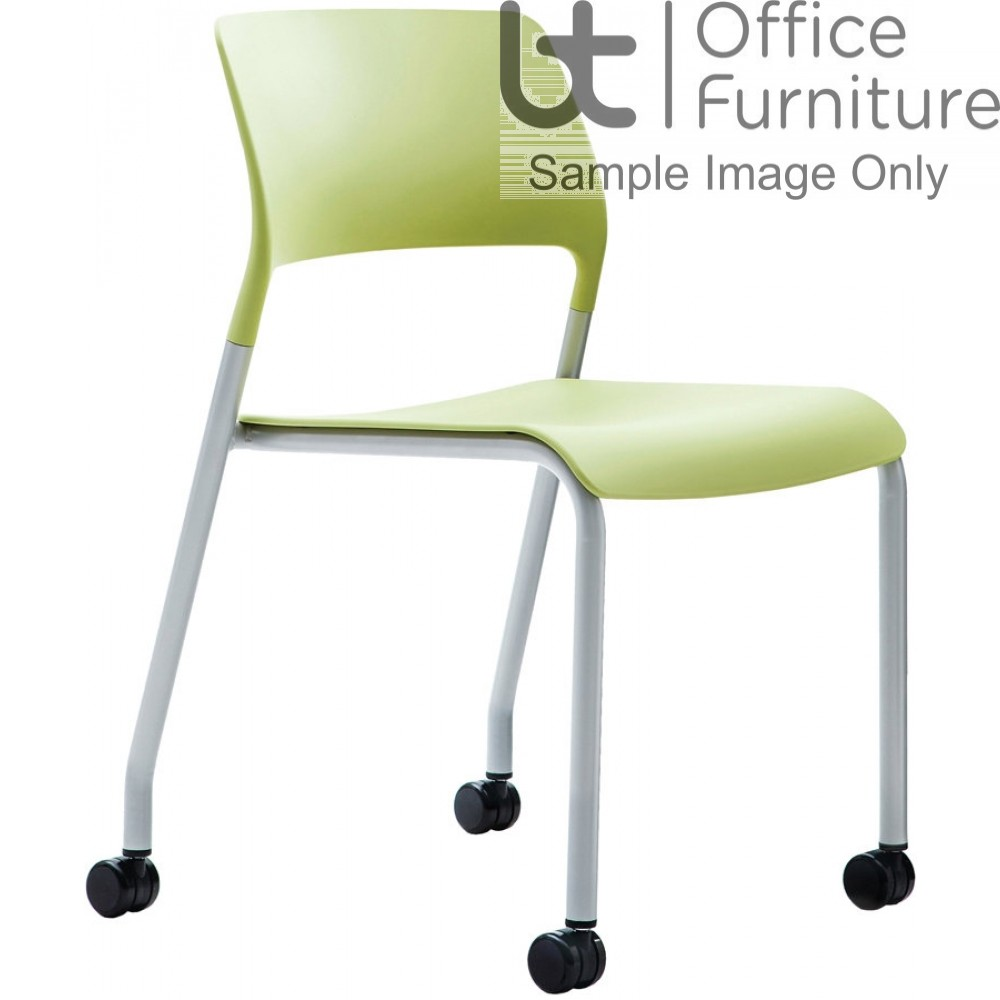 Verco Visitor / Conference Seating - Muse 4 legged Green Plastic Stacking Chair on Castors