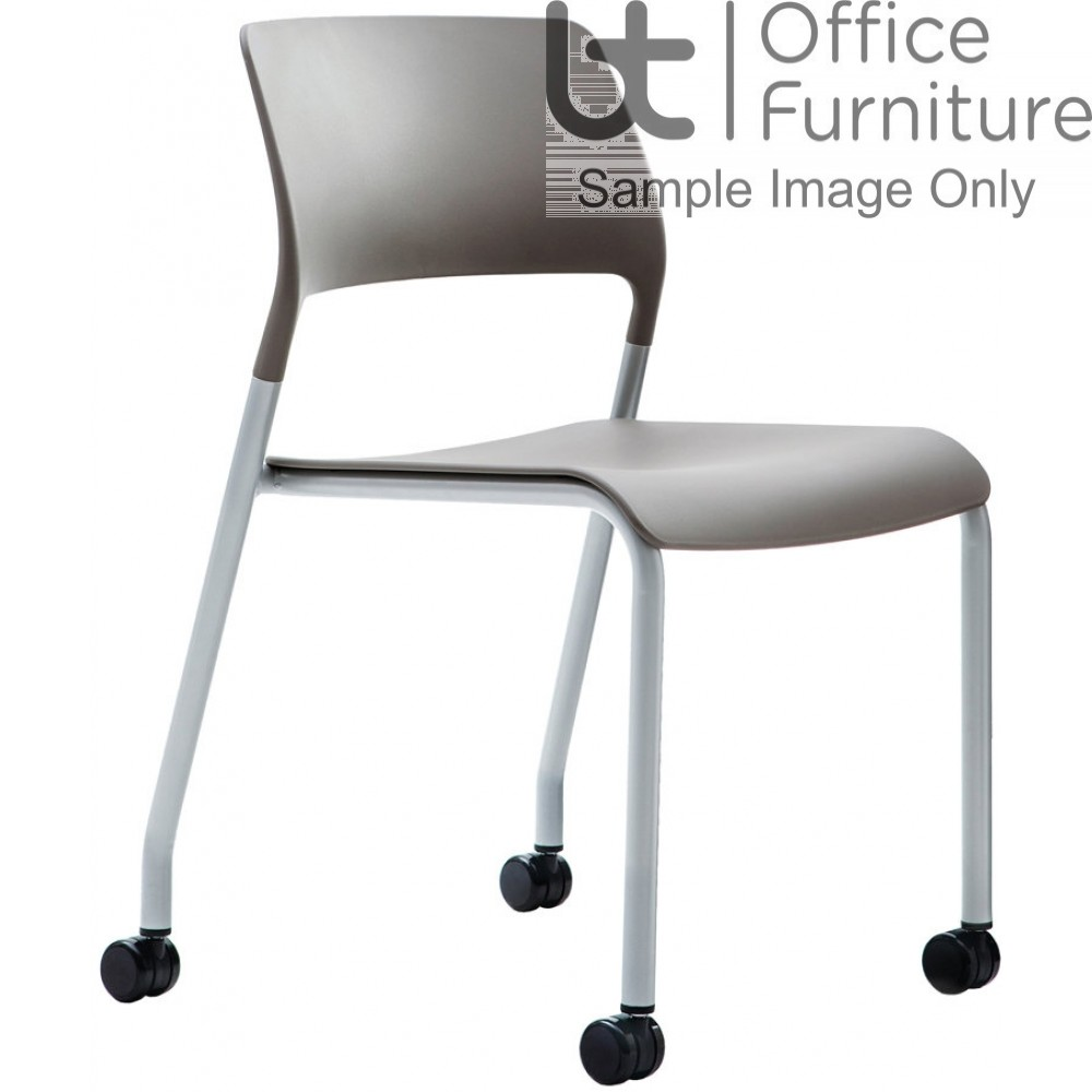 Verco Visitor / Conference Seating - Muse 4 legged Stone Plastic Stacking Chair on Castors