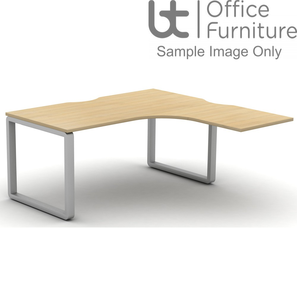 Arc Extended Crescent Desk For Supporting Pedestal 800D x 600Dmm - Right Hand Illustrated