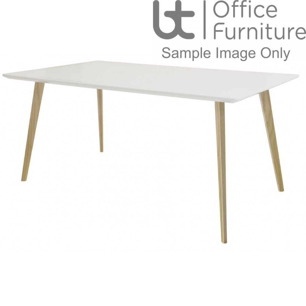Elite Modular Meeting Table - Piazza Rectangular Table with Square Solid Ash Wooden Legs & White Tops