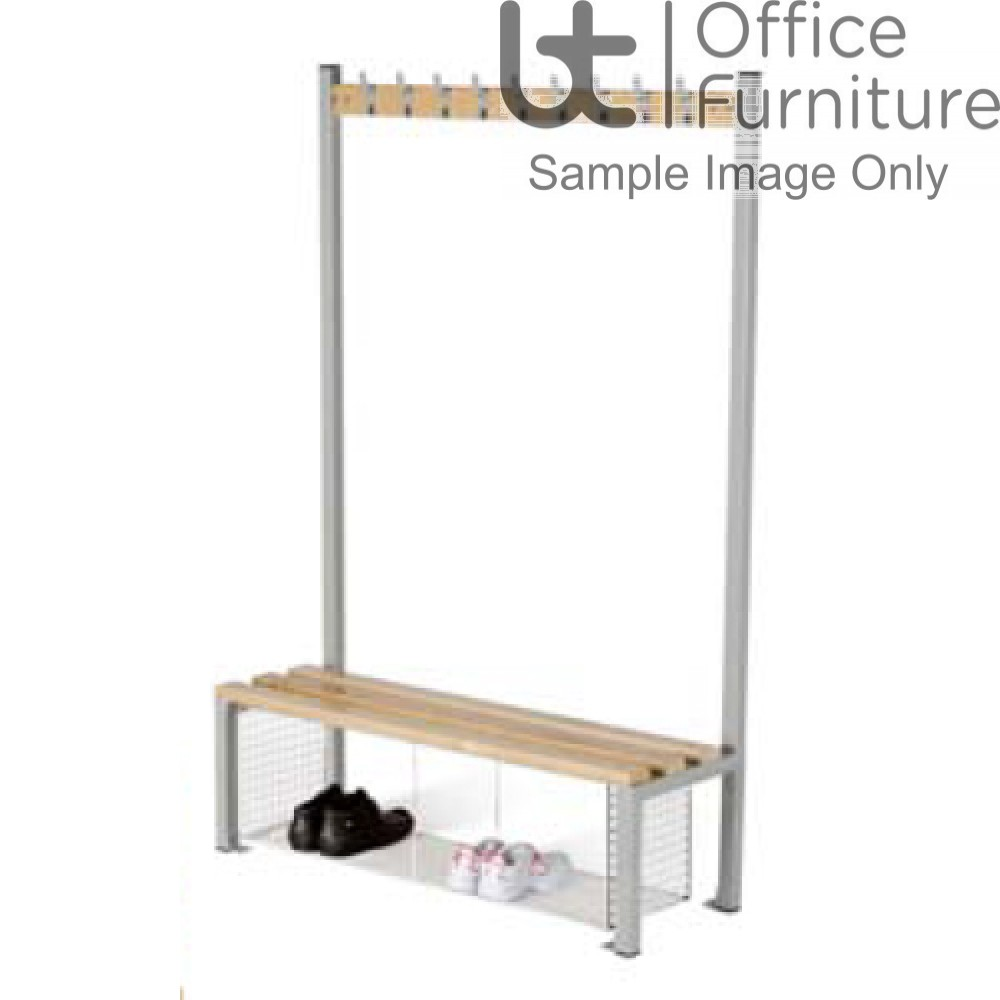 HOF Cloakroom Equipment - Single Sided Island Seating with Shoe Tray