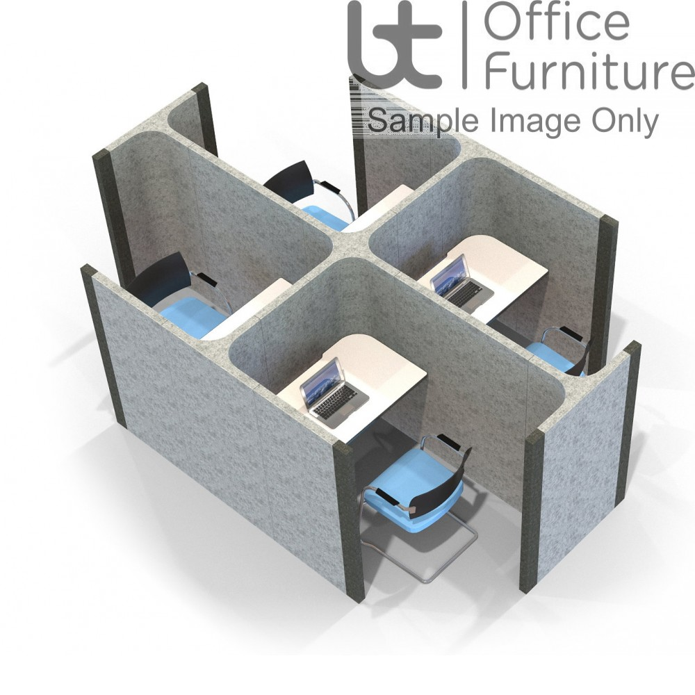 Acoustic Learning - End Open Side by Side Quadruple Study Booths Including Desks 1400mm High