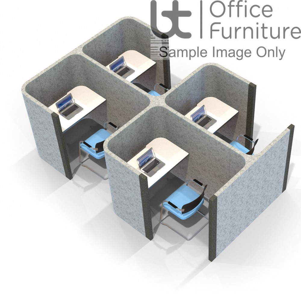 Acoustic Learning - Side Open Side by Side Quadruple Study Booths Including Desks 1400mm High