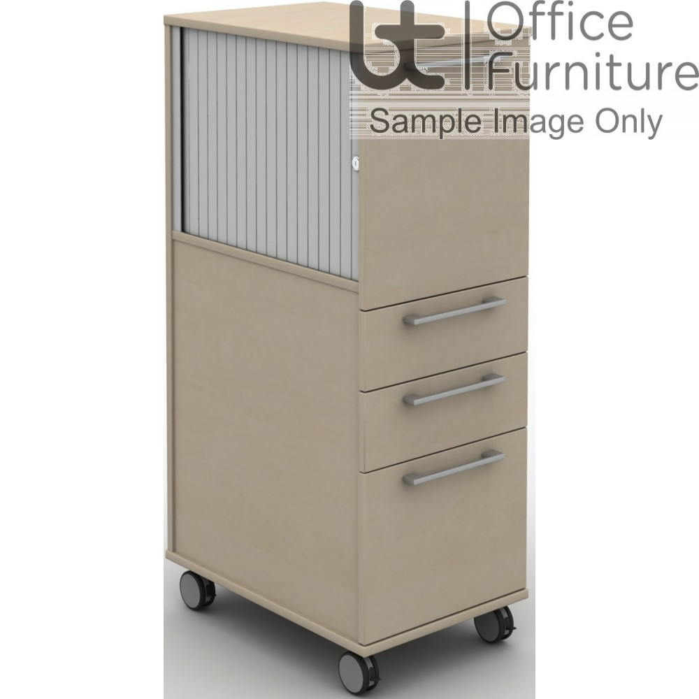 MB Storage Solutions -  Side opening tambour and 3 Drawer Mobile Pedestal