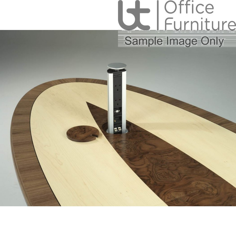 Wire Management for the Cylindrical Wooden Base Boardroom Tables