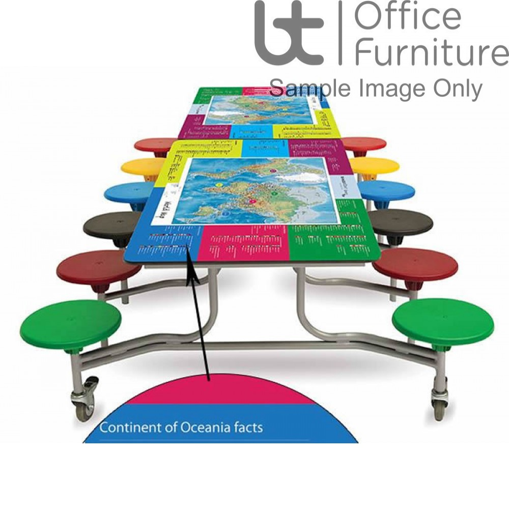 Folding Mobile Twelve Seat Rectangular Table Seating Unit with Smart Top