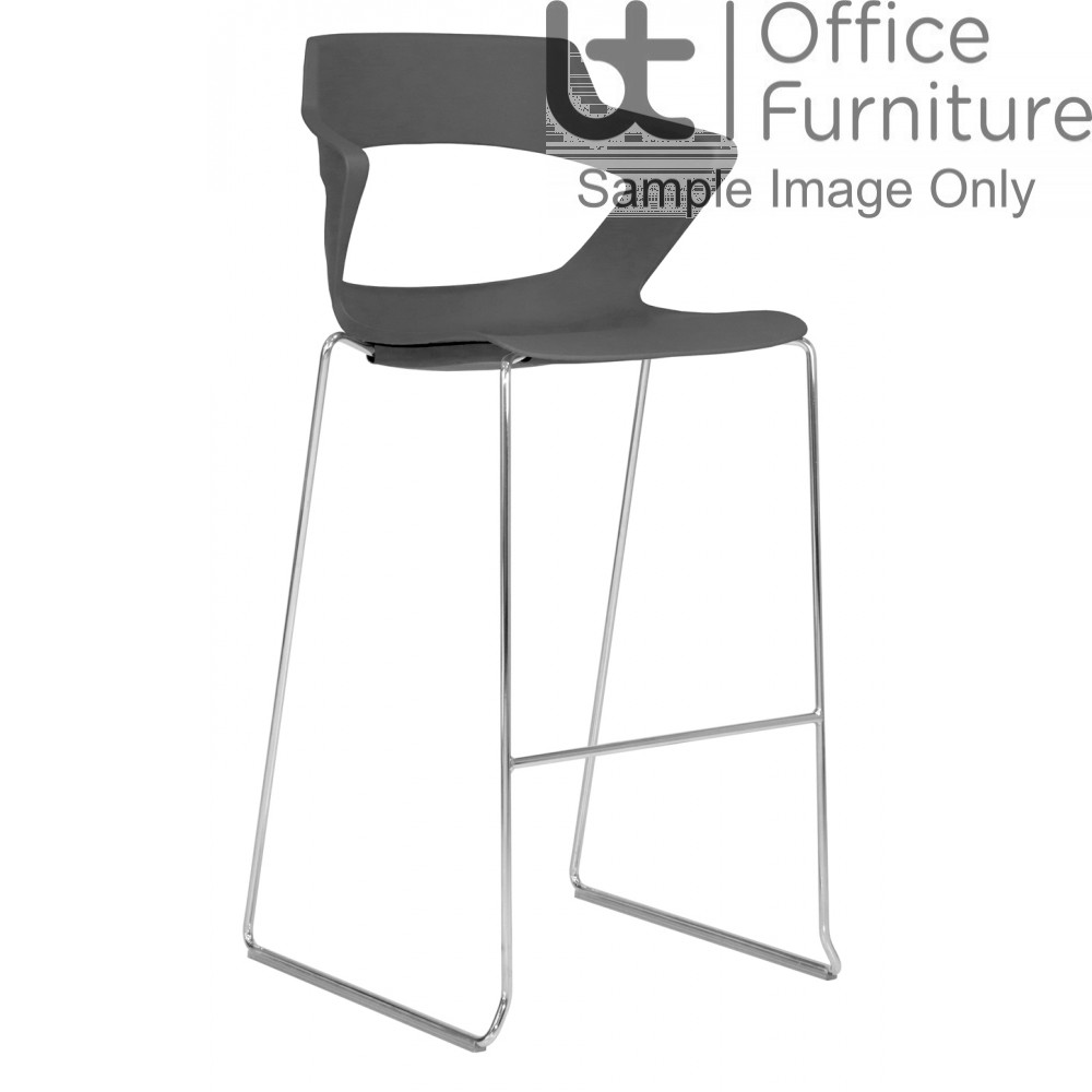 Elite Breakout Stools - Zen Chrome Frame Sled Base Bar Stool Chairs with Fabric Options