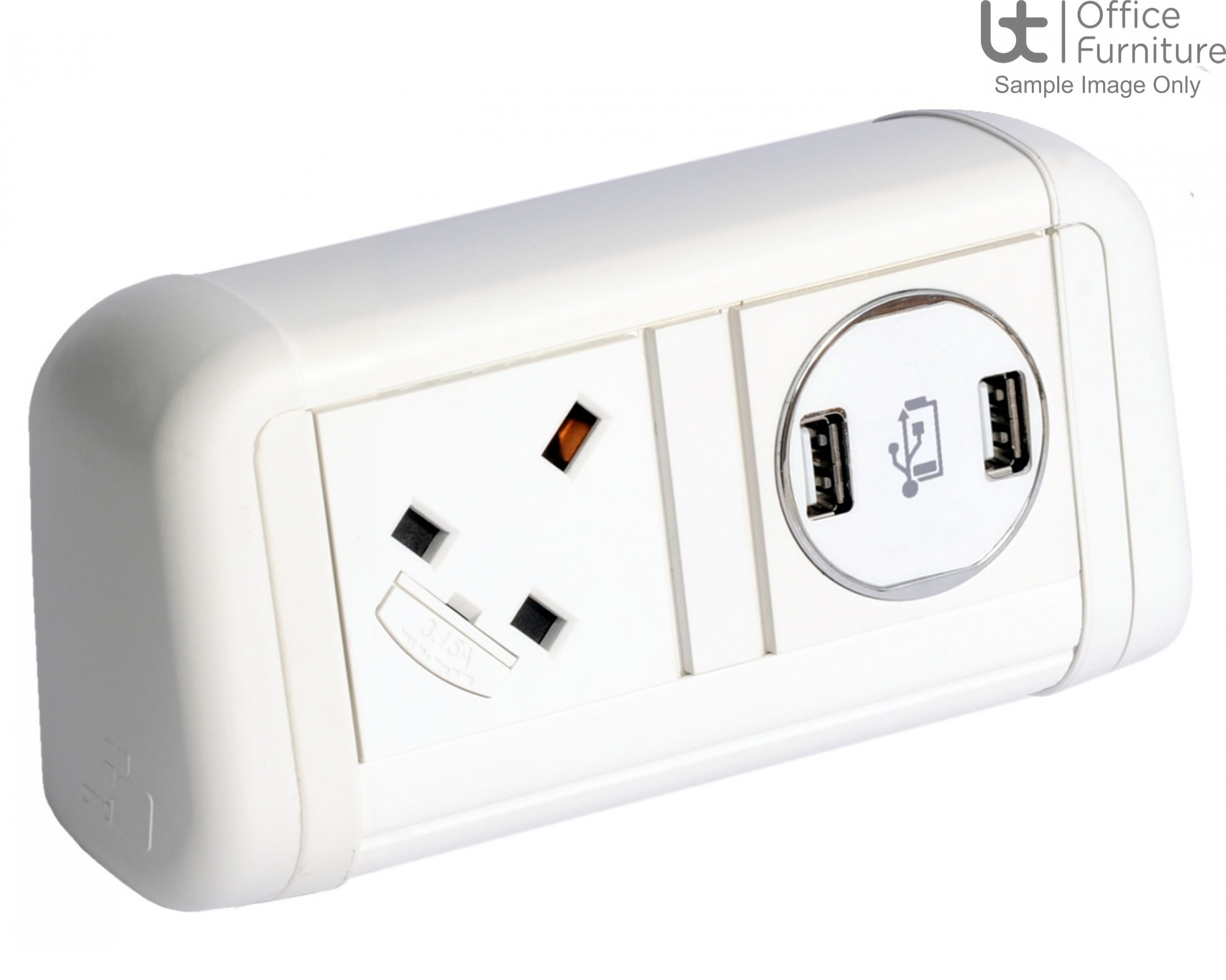 DMC Contour 1 x power, 1 x twin 5A USB charger, 1m mains lead to 3-pole connector