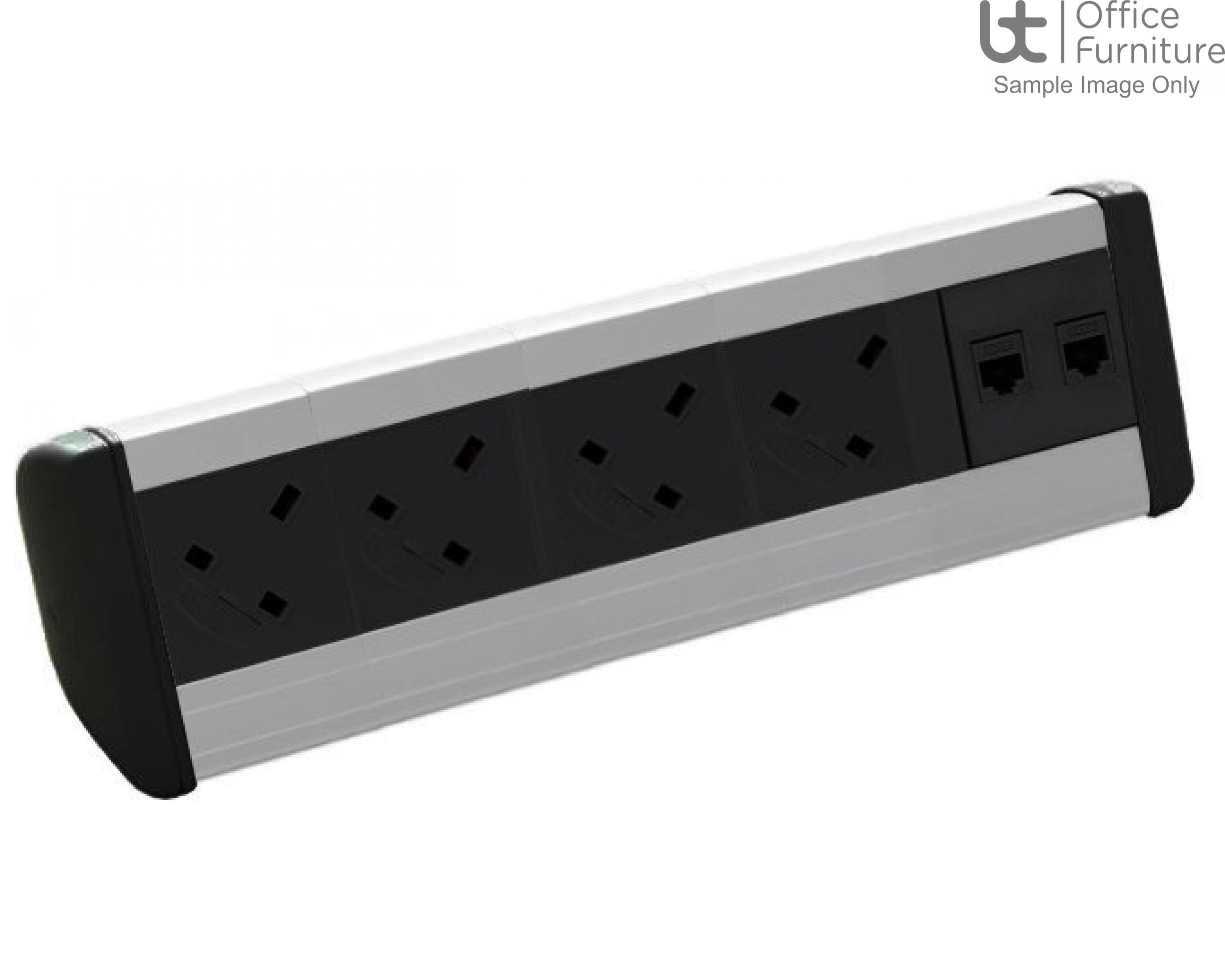 Harmony 4 x power, 1m mains lead to 3-pole connector, 2 x RJ45 data Cat6 sockets only, new end caps (Black fascias & end caps (Silver body)