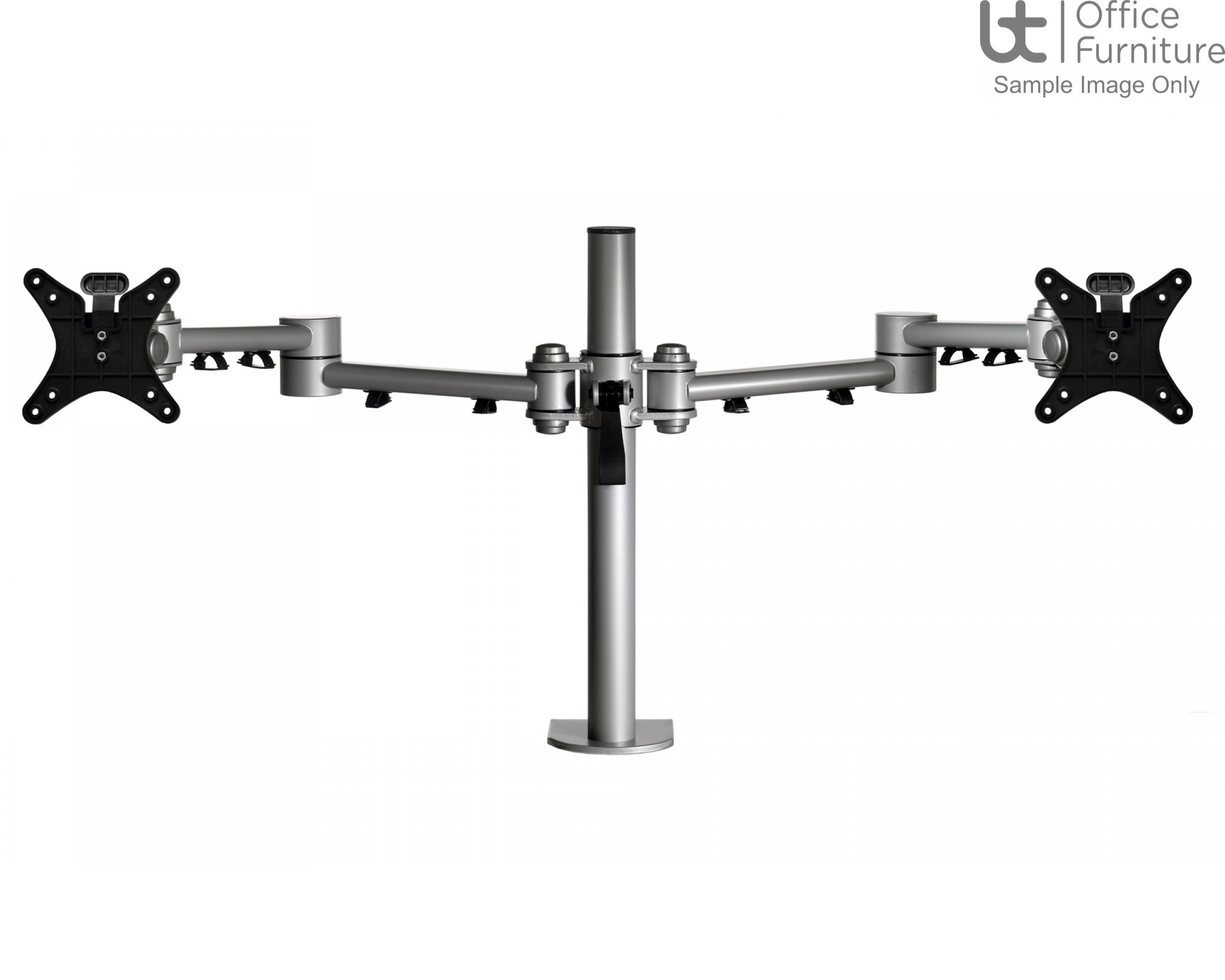 DMC Vision Heavy Duty double pole monitor arm with C clamp, bolt through & grommet mount fixing kit
