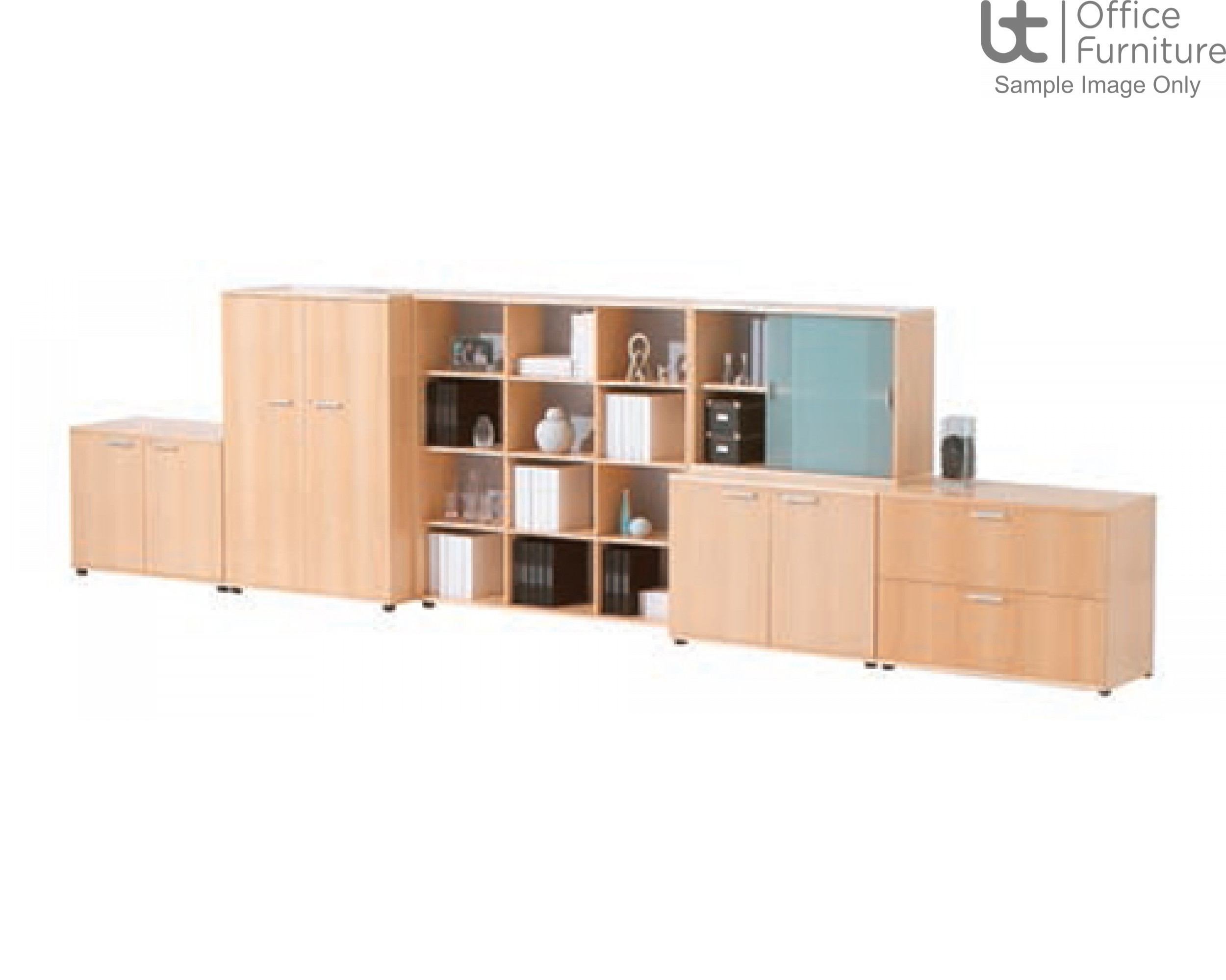 Verco Intuition Bookcase Unit with Frosted Glass Doors