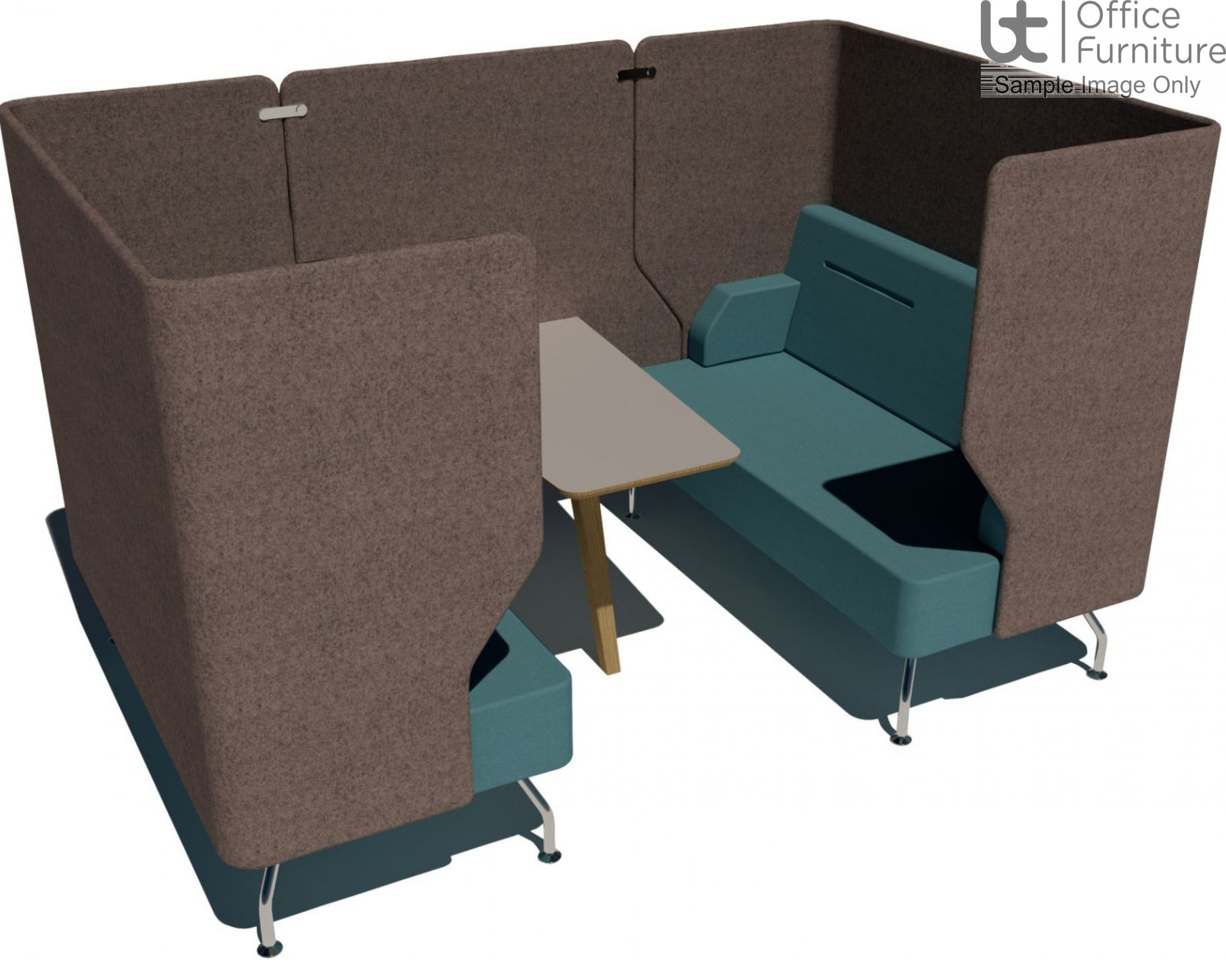 Verco Pod/Booth - Brix-Up Four Person + 800mm Infill Panel & 600mm Deep MFC Table (Metal Legs - Arms NOT inc)
