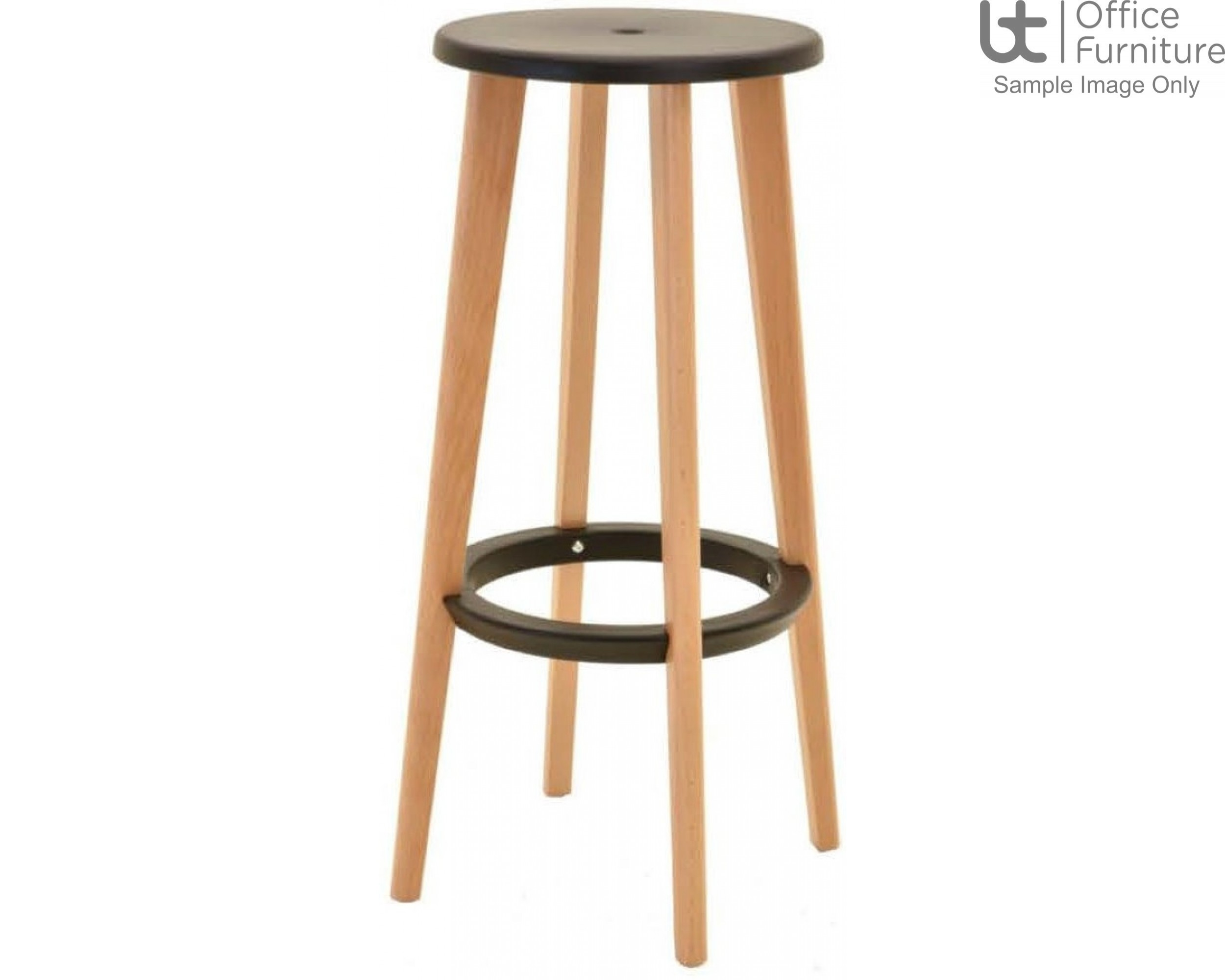 Verco Multi Pupose Seating - Button Stool + Black Plastic Seat with Beech Leg Frame & Black footrest