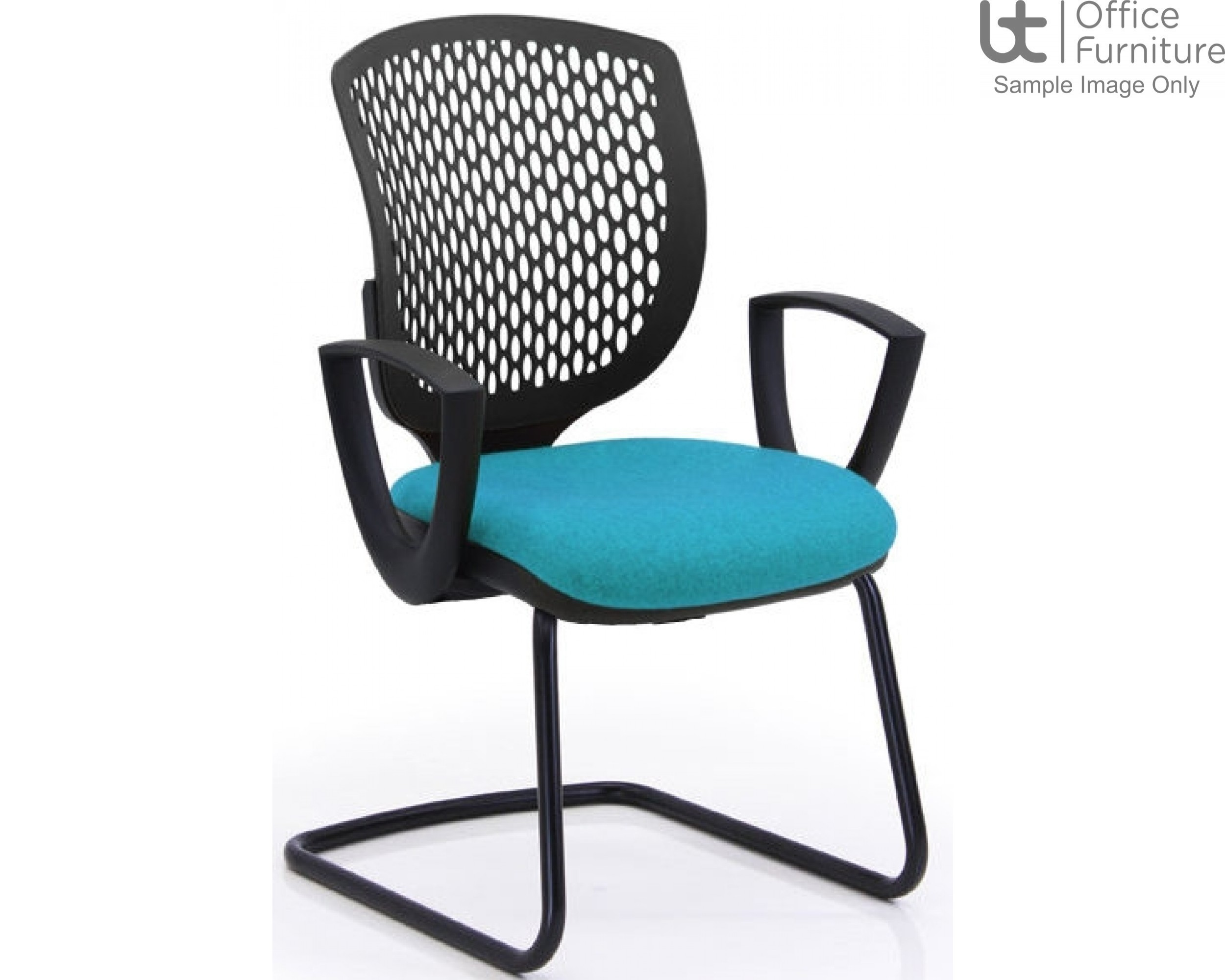 Verco Operator/Task Chair - Carlo Black Medium Back Visitor Chair with Arms