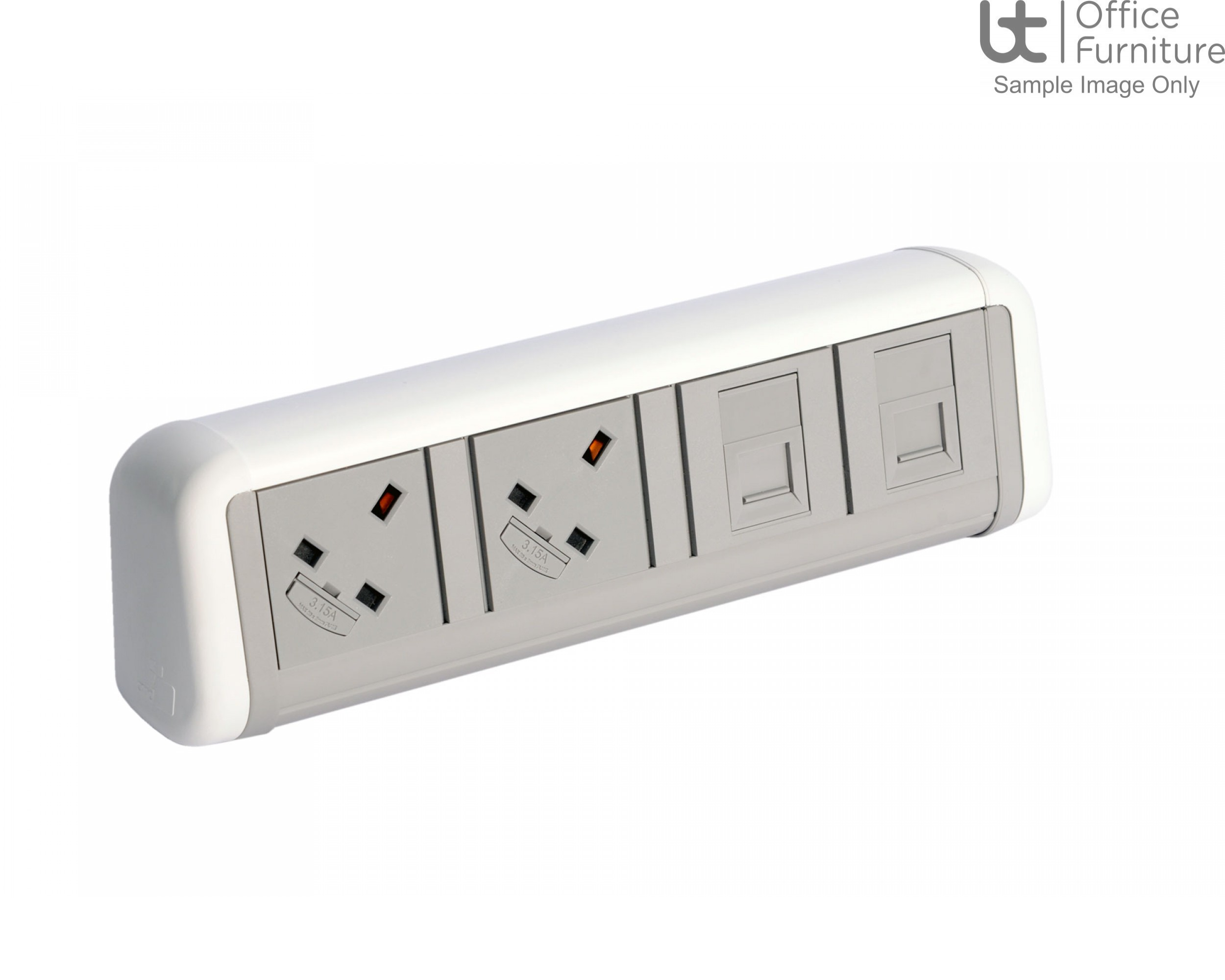 Contour 2 x power, 1m mains lead to 3-pole connector, 2 x RJ45 data Cat6 sockets only