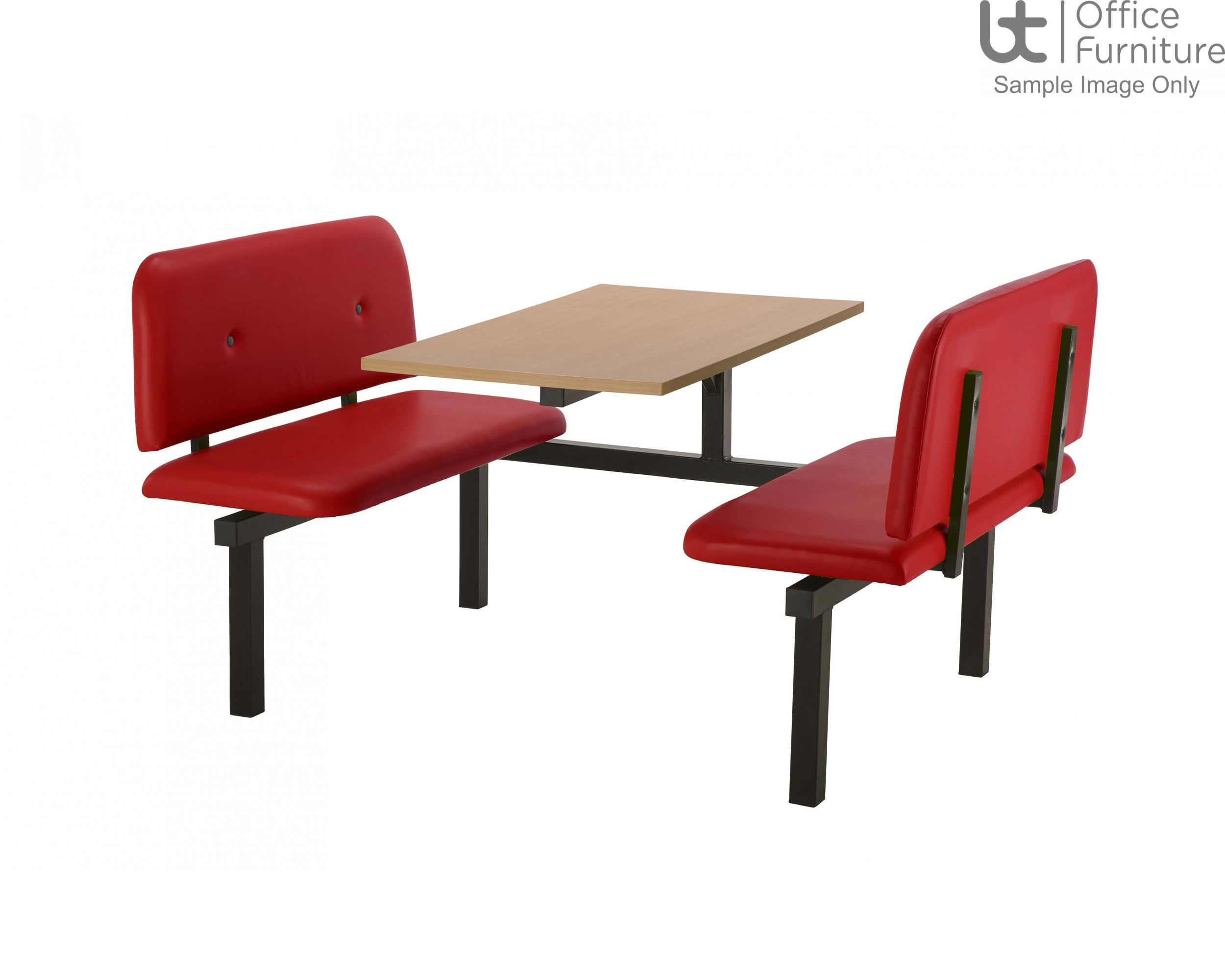 Bench 4 Seat Modular Canteen Fast food Unit - Red Vinyl Seats