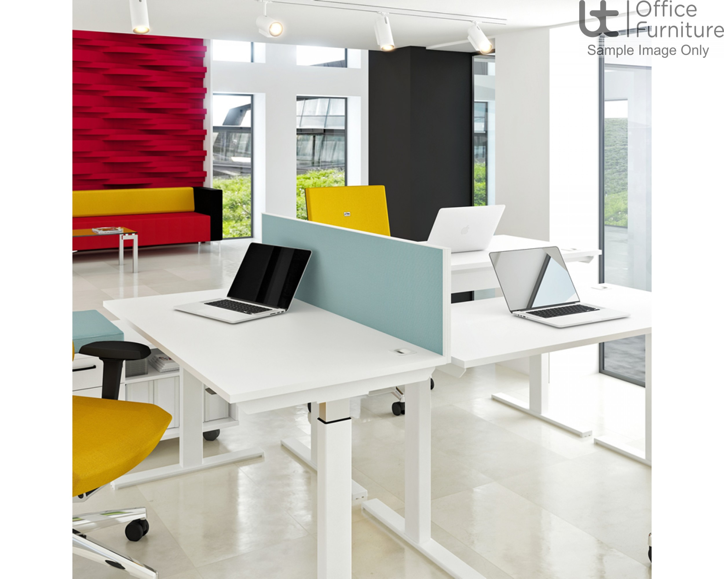 Elite System Screen with Management Rail - Fabric - Elevate For Linnea Elevate Height Adjustable and Fixed only