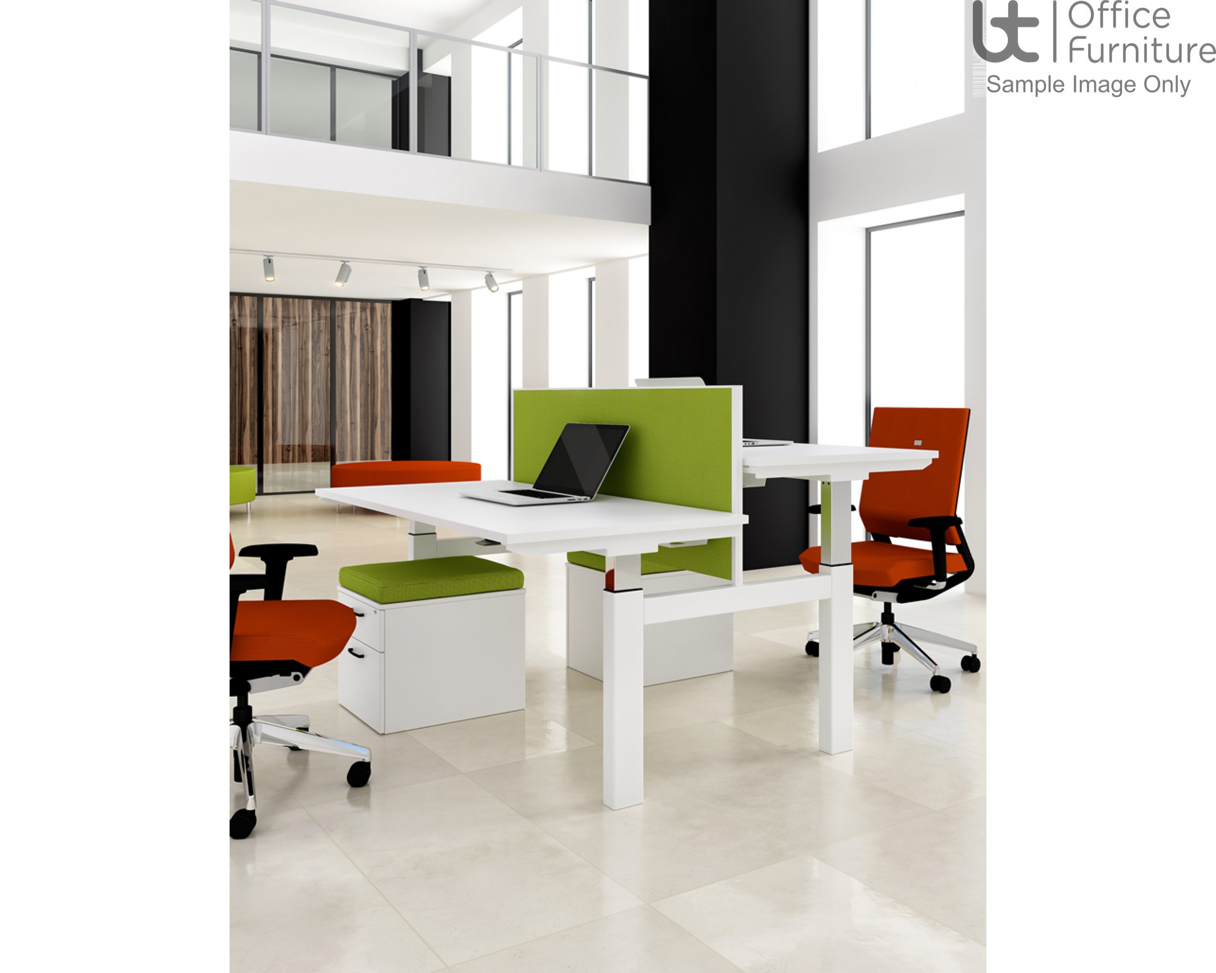 Elite System Screen with Management Rail - Acrylic - Elevate For Linnea Elevate Height Adjustable and fixed only