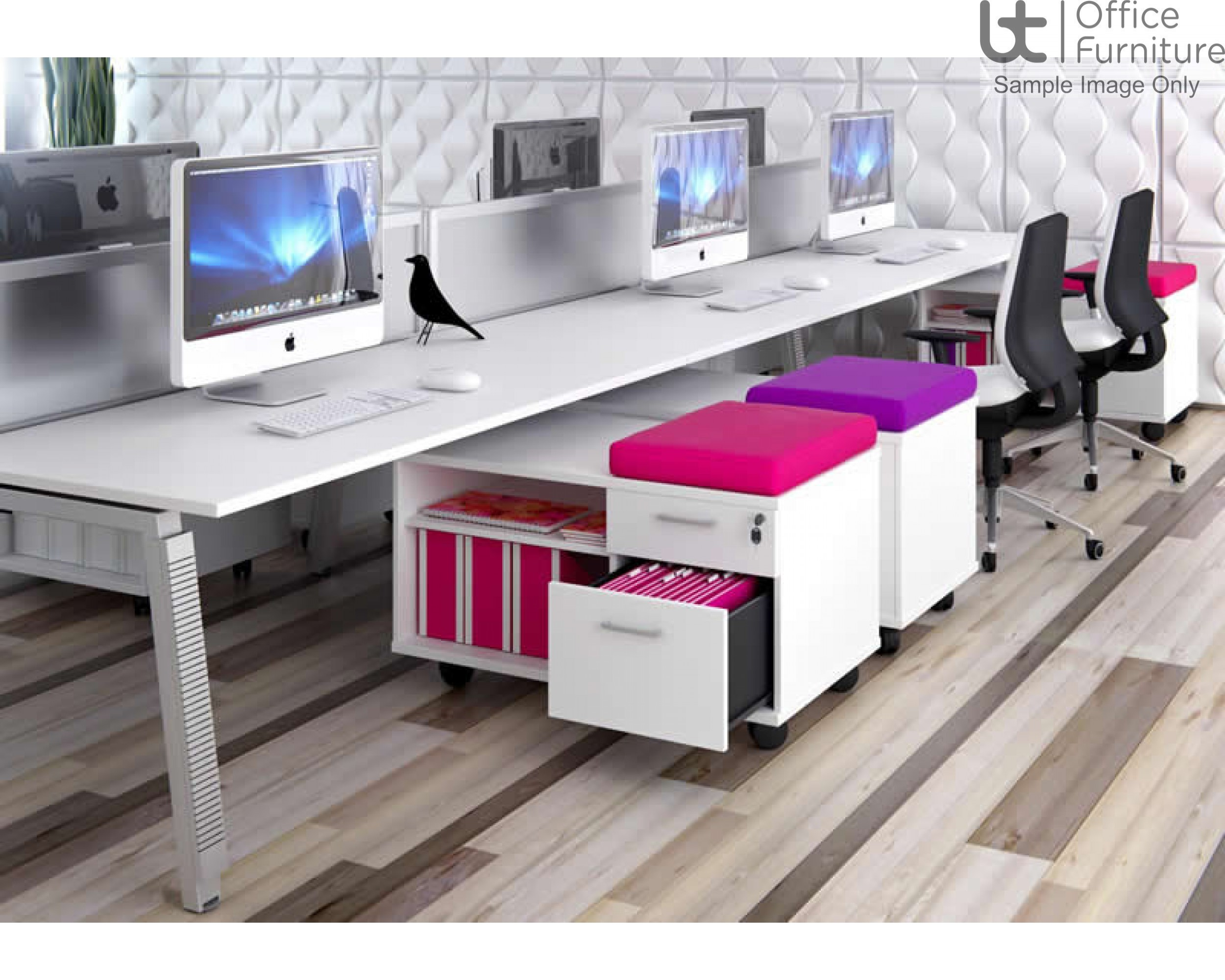 Elite Double Sided Under Desk Mobile Storage Unit with Seat Pad