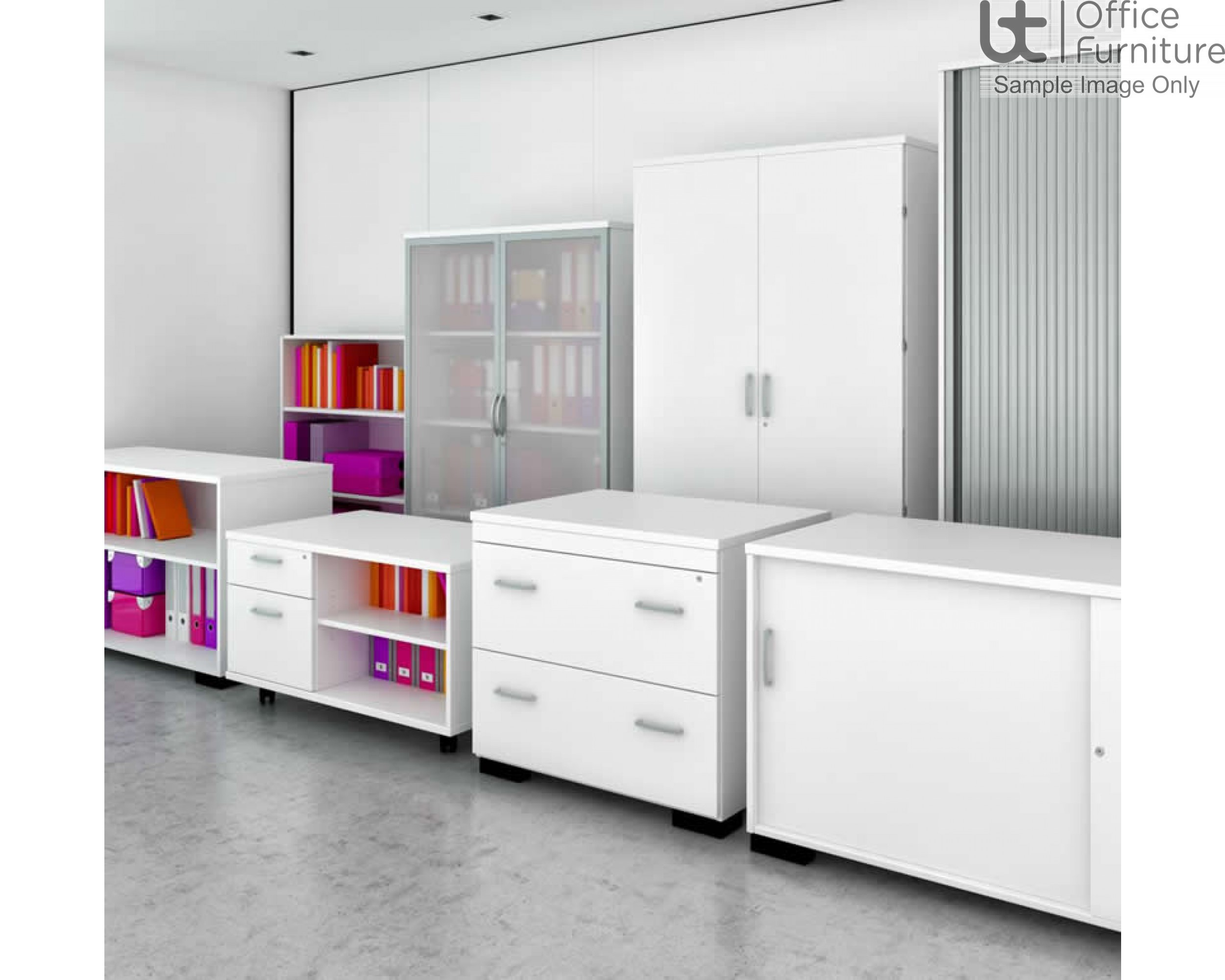 Elite Glass Fronted Top Storage Unit with Hinged Doors